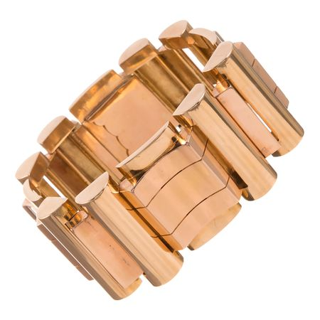 RETRO FRENCH HEAVY WIDE ROSE GOLD BRACELET