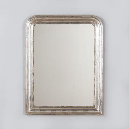 Antique French Louis Philippe Silver Gilt Mirror 19th Century