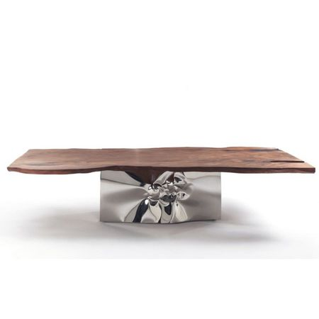 TABLE LAGUNA WITH SPECIAL BRICO SOLID WOOD TOP WITH SPECIAL WORKED STAINLESS STEEL BASE 147-LAGUNA BRICO
