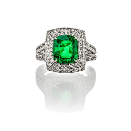 3.04 ct. Tsavorite Garnet & Diamond Ring