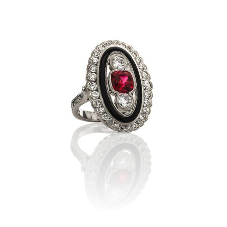 One of a Kind Red Spinel & Diamond Ring