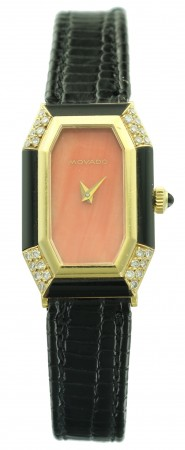 Movado Ladies Coral and Onyx Watch