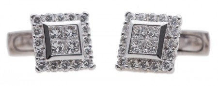 Luca Carati Diamond Cufflinks 18K White Gold