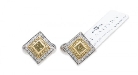 Beaudry Couture Collection White and Yellow Diamond Cufflinks Platinum and 18K Yellow Gold
