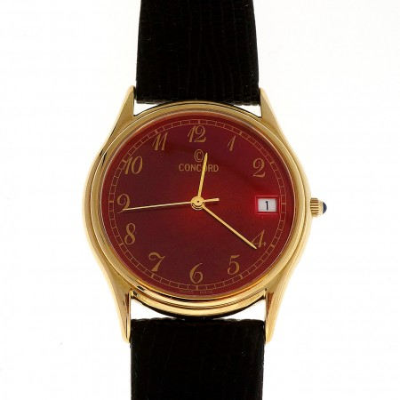 Red Dial Concord 14k Quartz Men\'s Date Watch