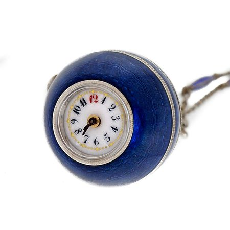 Antique Victorian 1890 Blue Enamel Ball Pendant Watch And Chain