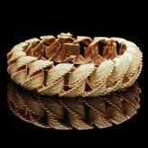 A STYLISH TEXTURED GOLD BRACELET BY GEORGES LENFANT c.1960\'s