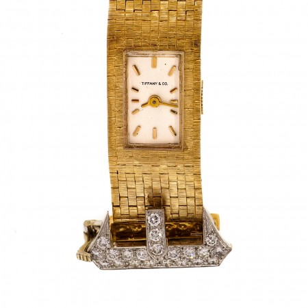 Mid Century Tiffany 1950 Diamond Buckle Gold Watch Textured Mesh Band