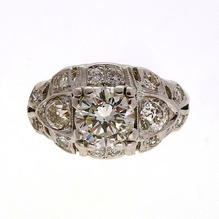 Antique Art Deco 1.10ct Transitional Cut Diamond 14k Retro Ring