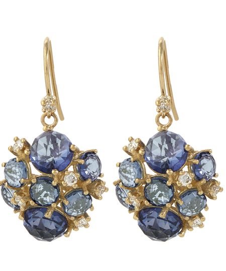 SUZANNE KALAN Gold English Blue Topaz Cluster Earrings