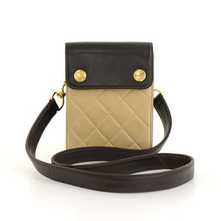 Chanel Black x Beige Quilted Leather 2 way Mini Bag Pouch