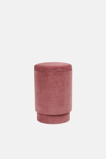 Suede Storage Stool - Vieux Rose