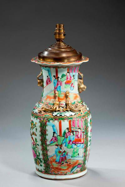 19TH CENTURY CANTON VASE LAMP