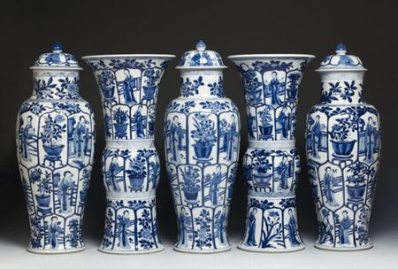 Chinese export porcelain garniture with moulded panels, c. 1700, Kangxi reign, Qing dynasty