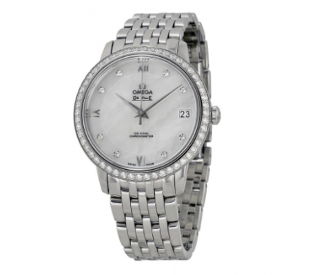 De Ville Mother of Pearl Dial Diamond Stainless Steel Ladies Watch