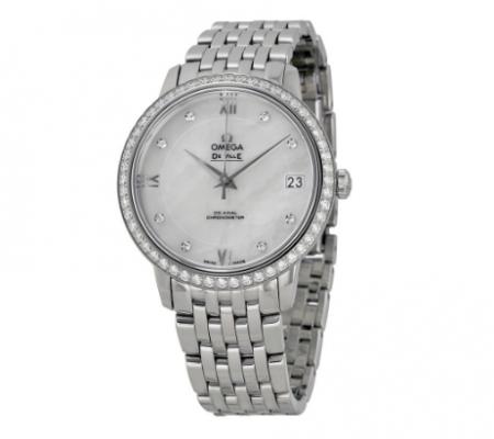 De Ville Mother of Pearl Dial Diamond Stainless Steel Ladies Watch