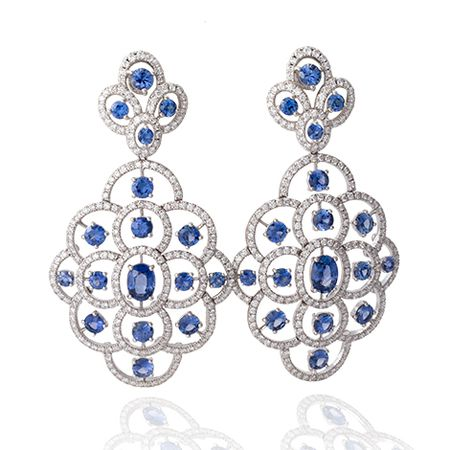 de Boulle Collection Sapphire & Diamond Earrings
