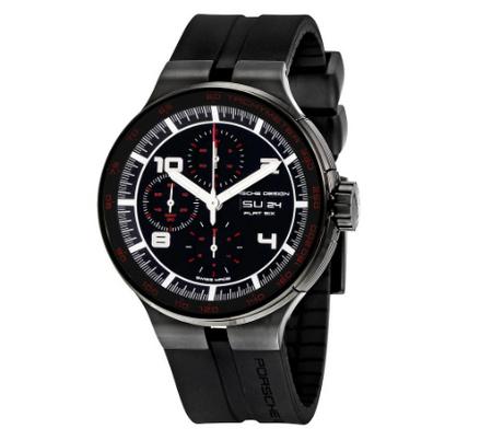 Porsche Flat Six Chronograph Automatic Black Dial Black Rubber Men\'s Watch 636043441254