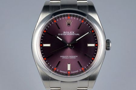 2016 ROLEX OYSTER PERPETUAL REF: 114300 'RED GRAPE' DIAL MINT2016 ROLEX OYSTER PERPETUAL REF: 114300 'RED GRAPE' DIAL MINT