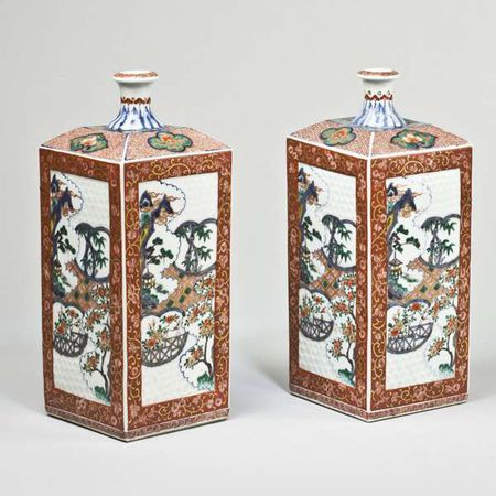 A pair of Kengoi Imari toguri porcelain bottles