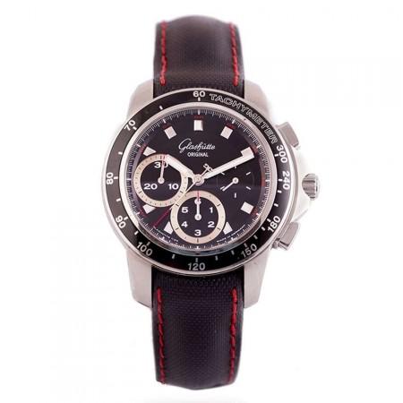 Gentlemen's Glashutte Automatic Chronograph Black Dial Strap Watch