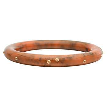Mark Davis Sienna Orange-Brown Bakelite & Yellow Sapphire Bangle