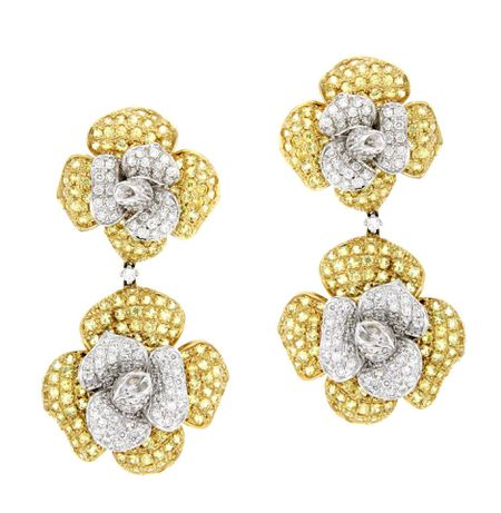 Yellow Sapphire and Diamond 3D Flower Earrings