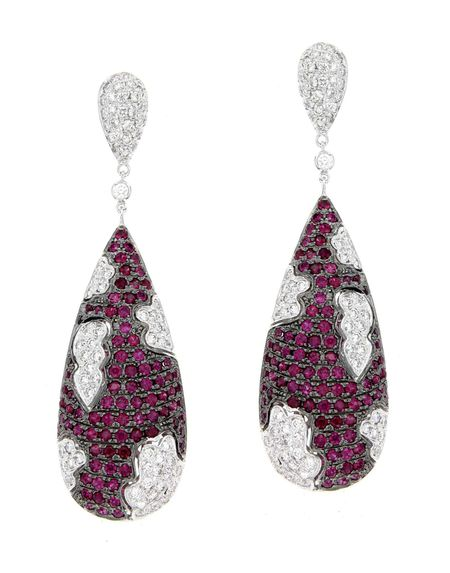 Pear drop Ruby & Diamond Earrings