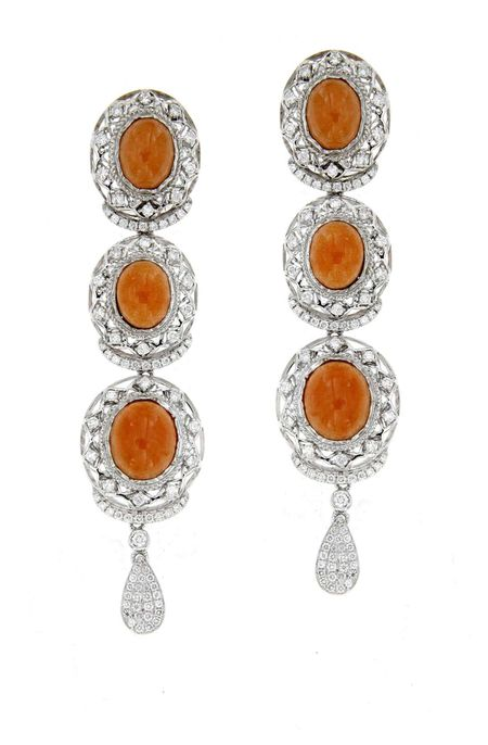 Orange Moonstone & Diamond Earrings