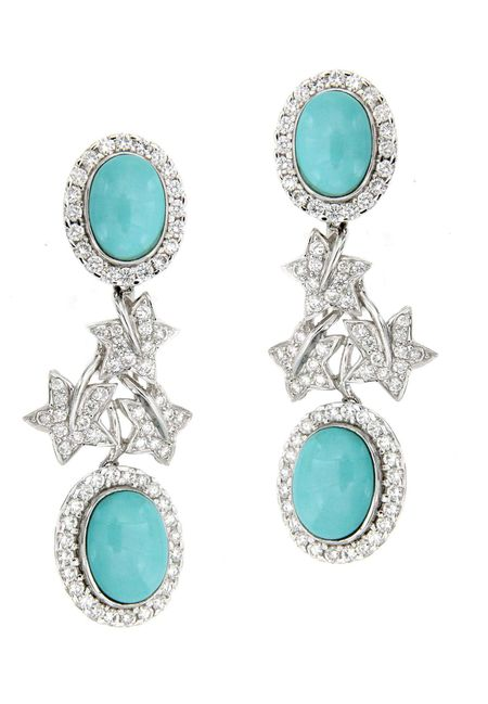 Blue Turquoise Diamond Earring