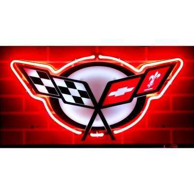 Chevrolet Corvette C5 Logo Neon Garage Sign