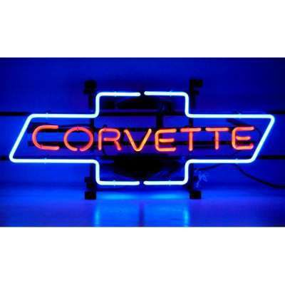 Chevrolet Corvette Bow Tie Neon Garage Sign