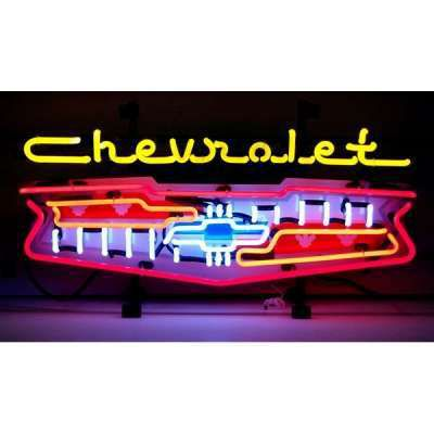 Chevrolet Bel Air Shield Neon Garage Sign