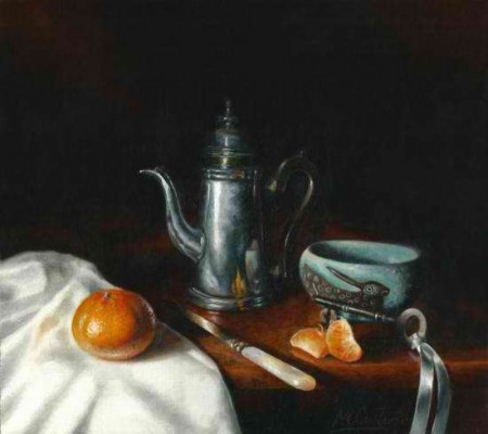 Still Life with Clementine and Coffee Pot - Matt Curtis