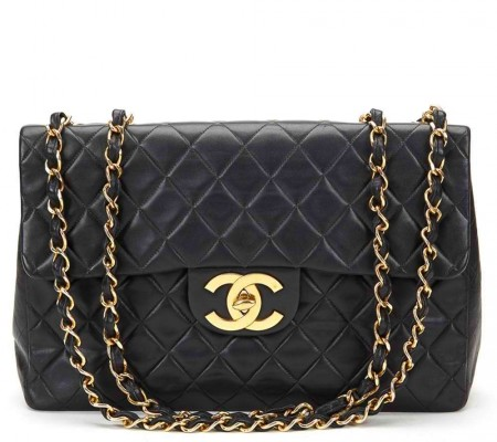 CHANEL - BLACK QUILTED LAMBSKIN VINTAGE MAXI JUMBO XL FLAP BAG 1994