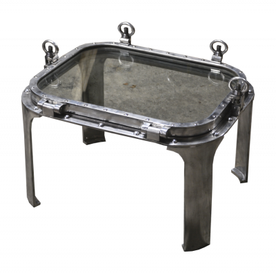 Table square porthole in alu