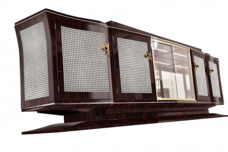 Large Art Deco Diamond Sideboard made of Macassar