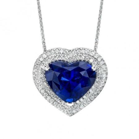 8.05 Carat Blue Heart Shape Sapphire Pendant