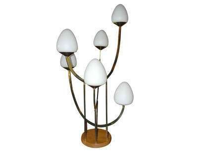Rare and Unusual Brass and Wood Lamp by Laurel