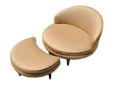 1950′s Round Slipper Chair and Ottoman