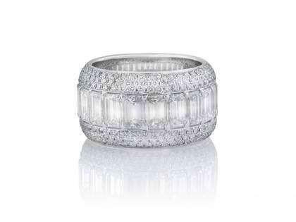 Emerald and Round Cut Diamond Wedding Band