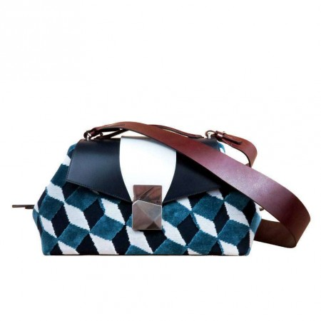 Large Top Handle Bag in Velvet and Leather Large Cheeky Sailor