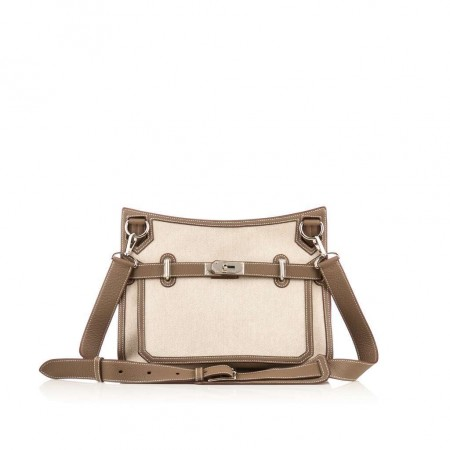 Hermes Taupe Canvas Jypsiere 34 Shoulder Bag
