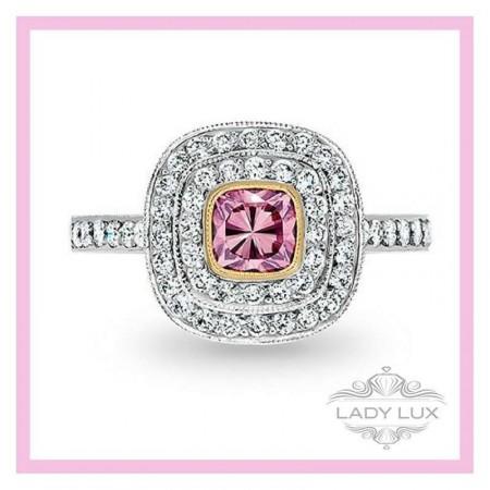 Cushion Cut Pink Argyle Ring