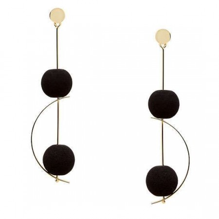STUNNING GOLD DROP EARRINGS WITH LAVA GEMSTONE BON-BONS