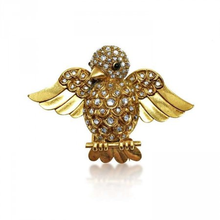 "AN 18K YELLOW GOLD AND DIAMOND ""MOINEAU"" CLIP BROOCH, BY RENE BOIVIN, 1945"