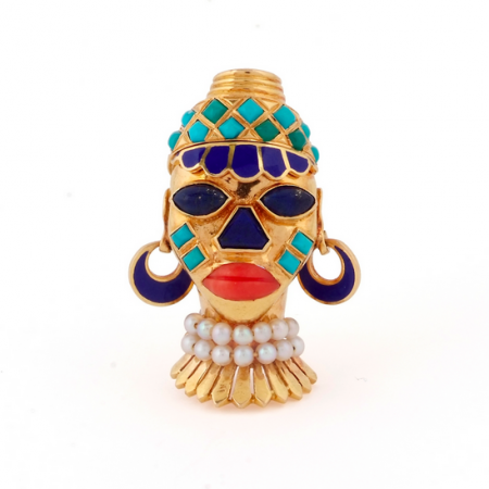 A RETRO GEM-SET 'AFRICAN MASK' BROOCH, BY BOUCHERON, CIRCA 1949
