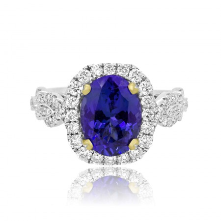 3.42 Carat Oval Tanzanite Diamond Halo Gold Ring
