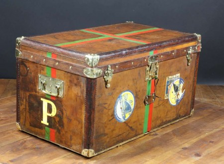1893 Goyard Leather Steamer Trunk contesse de Preaulx