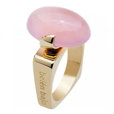 Contemporary Statement/Cocktail Ring in Gold + Rose Quartz